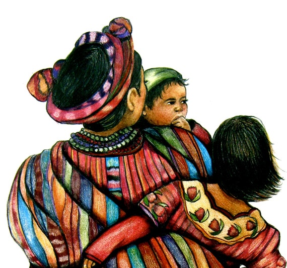 Watercolor The family, mother  children  twins art print folklore