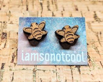 Bee Stud Earrings / Wood Stud Earrings / Laser-Cut Wood Earrings / Insect Studs / Insect Jewelry / Bee Earrings / Insect Earrings