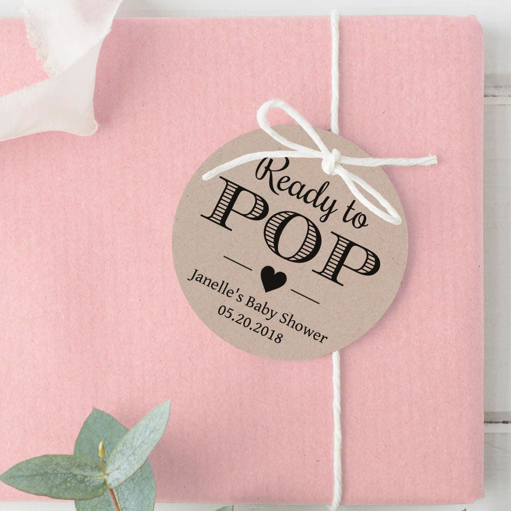 Ready to pop tags Shes ready to pop tag Baby shower tags