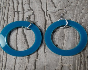 Turquoise Perspex Hoop Earrings - Valentines Gifts for Her - Turquoise Earrings - Large Earrings - Statement Jewellery