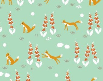 SALE Organic cotton fabric. Fox in the foxglove. Quilters weight. Cloud9 fabric. Mint green orange white floral woods