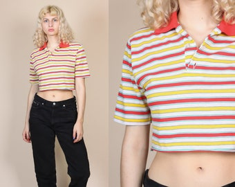 70s Polo Crop Top - Medium // Vintage Striped Short Sleeve Cropped Shirt