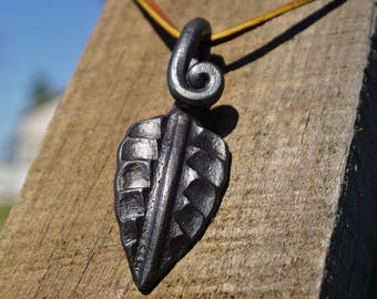 Hand Forged Leaf Pendant Keychain