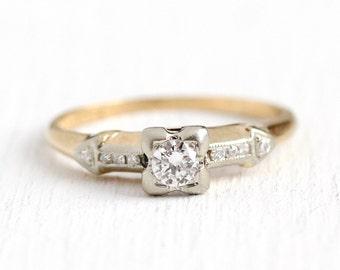 Vintage Diamond Ring - .24 CTW 14k - 18k Yellow & White Gold - Size 5 1/4 1940s Fine Engagement Bridal Two Tone Wedding Jewelry