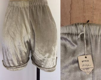 1970's Deadstock Velvet Silver Hot Pants Vintage Shorts Size XS Small by Maeberry Vintage