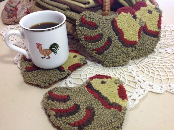 Rug Hooking PATTERN, Chicken Mug Rugs, P104, Primitive Hooked Chicken Mats, DIY
