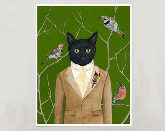 Art Print - Black Cat Boy - Signed by Artist - 3 Sizes - S/M/L
