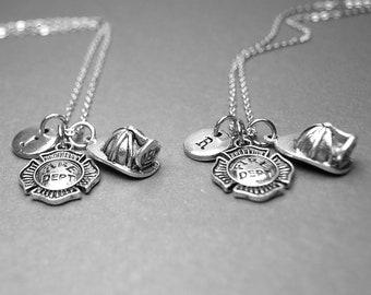 Best friend necklace, firefighter necklace, fireman helmet necklace, fire department badge, fireman necklace, personalized necklace