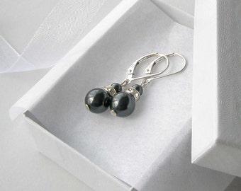 Black Pearl Drop Earrings, Pearl and Crsytal Earrings, Bridesmaid Jewelry, Black Jewelry, Simple Pearl Earrings, Wedding Party Gift