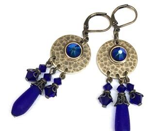 Cobalt Blue Earrings - Hammered Brass - Matte Glass and Swarovski Crystals- Leverback Earrings