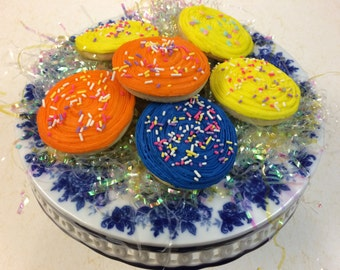 3 inch round butter creamed iced sugar cookies