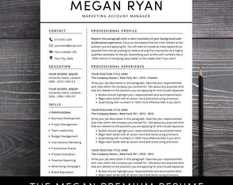 sale resume cv template instant download professional creative resume 3 pages word pages mac - Professional Resume Template Free