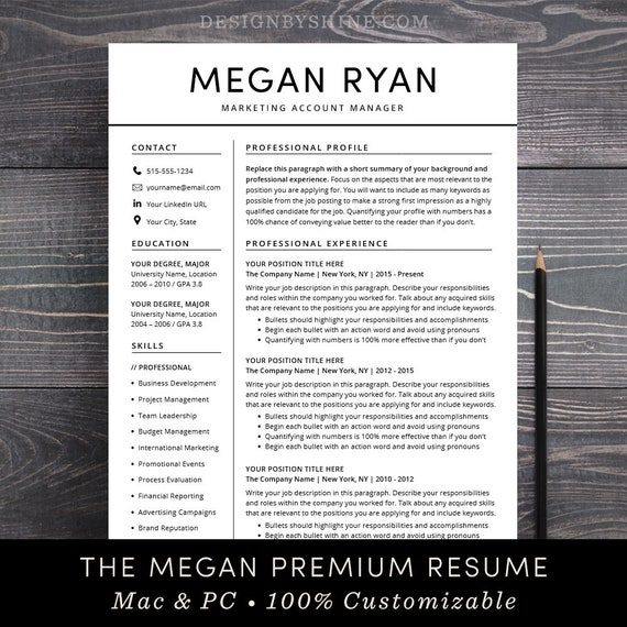 SALE Resume CV Template Instant Download Professional Creative