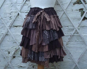 Brown Skirt Ruffled Layered Upcycled Hand Dyed Tribal Alternative Fashion Woodland Mori Girl