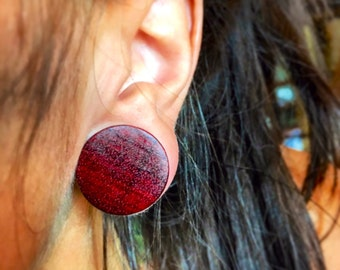 """Organic Bloodwood  Plug Gauges Sizes: 2g (6mm) through 1 1/2"""" (38mm)/ Gauges for Stretched Ears / Organic Gages/ Wood Plugs"""