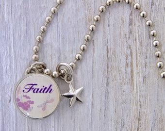 Faith Charm, Kids Necklace, Childrens Jewelry, Girls Necklaces, Girls Bracelets, Interchangeable jewelry, Kids Bracelet, Photo Jewelry,
