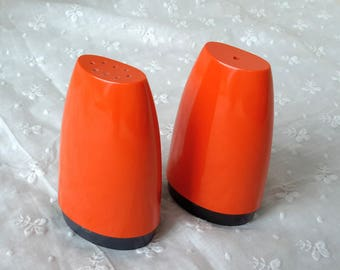 Vintage Gaydon Melamine Salt and Pepper Cellars in Orange  c1950s