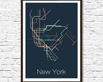 NYC Subway, New York Subway Map, New York, Metro Map, Map Art, Subway Map, Minimalist Art, New York Poster, New York Print, Transit Map