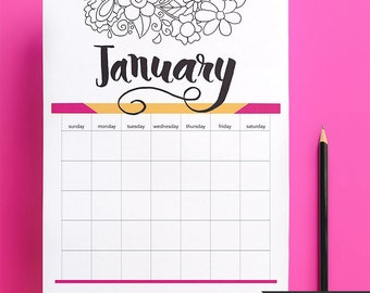 Undated monthly calendar printable, Use it for every year again and again! Digital Download only