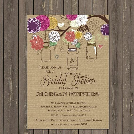Mason Jar Bridal Shower Invitations Rustic Mason Jar Invites
