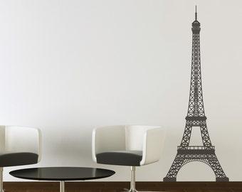 Large Eiffel Tower vinyl wall art decoration, 7 feet tall sticker decal removable Paris France arch tower landmark Gustave decor