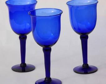 3 Cobalt Blue Wine Glasses-Tall, Cobalt Blue Glass Goblets-Tall, Set of 3 Cobalt Blue Wine Glasses, Tall Blue Goblets, Cobalt Blue Glassware