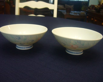Japanese Rice Bowls, Blue, Pink and White Porcelain Bowls.