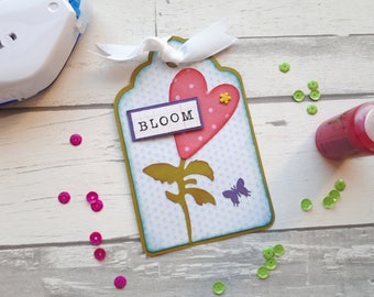 Scrapbook Tag Embellishment - Bloom - Layout Accent - Card Candy - Paper Craft Supplies - Card Making - Scrapbooking Supplies - Gift Tag