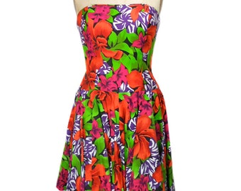 vintage 1980's floral party dress / A.J. Bari / strapless dress / tiki vlv hawaiian dress / 80s dress / women's vintage dress / tag size 12