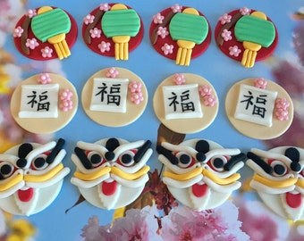 Chinese New Year Fondant Cupcake Cookie Toppers