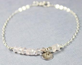 Rose Quartz and Silver Bracelet - Minimalist Jewelry - Pink and Silver Bracelet Silver Initial- Silver Letter Personalized Bracelet