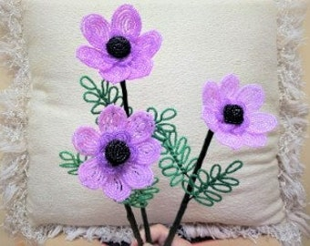 French Beaded Flowers ... 3 Handmade Windflowers ... Pink, Light Lavender and Lavender