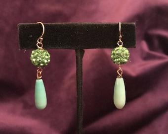 Gemstone Earrings, Chrysoprase Earrings, Gemstone Gold Drop, Natural Chrysophrase, 14k Gold Filled, Chrysoprase Gold Drop, Rhinestone Ball