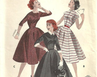Butterick 7520 Vintage 50s Sewing Pattern Dress Size 14