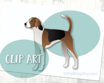 American Foxhound Basic Breed Silhouette Clip Art
