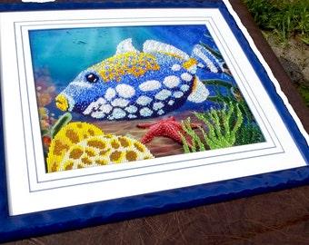 Triggerfish DIY bead embroidery kit,wall decor, painting, beading on needlepoint