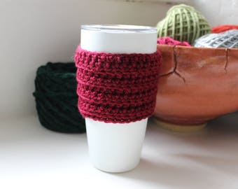 Burgundy Crocheted Cup Cozy, Stocking stuffer, Holiday gift