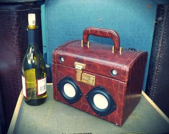 """SOLD Vintage Train Suitcase Boombox """"BABY GATOR"""" Portable MP3 Player Battery Powered Custom by Hi-Fi Luggage"""