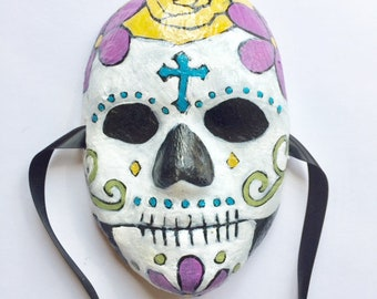 FOlk Art OOAK Day of the dead Skull Clay Mask