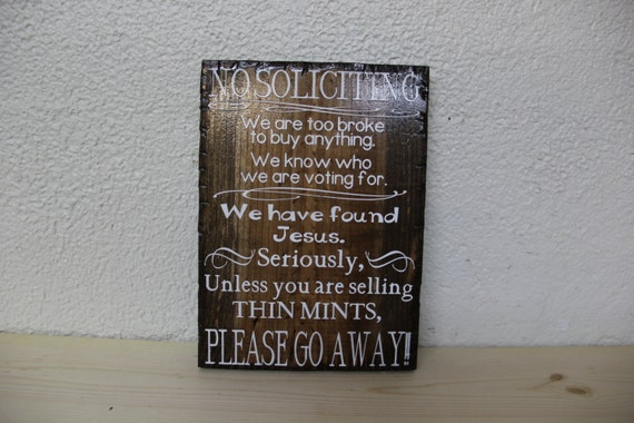"""No Soliciting Wooden Rustic-Style Sign 8""""x10"""""""
