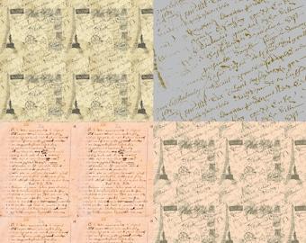 Parisian French Script fat quarter bundle