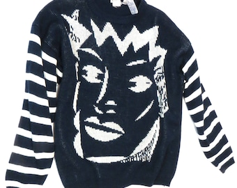 True Vintage 1980s New Wave Fashion Striped Oversized Slouchy Graphic Tapered Batwing Sweater; Size S