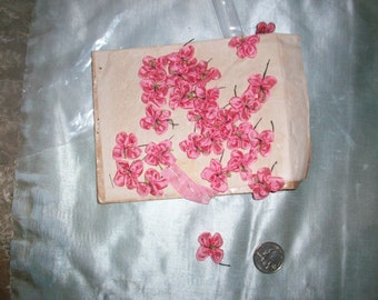 1 french antique silk Ribbon work flower in rose shade color 1/2""