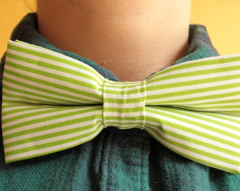 Green and white stripes bowtie / bow tie - striped stripy - prom, formal, garden party