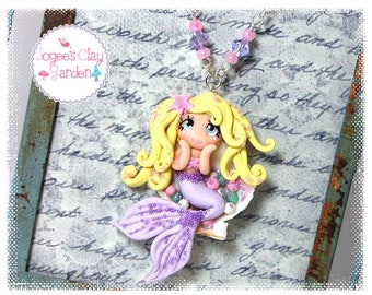 Mermaid in Sea Shell (#4) polymer clay pendant girls necklace by Jogee's Clay Garden