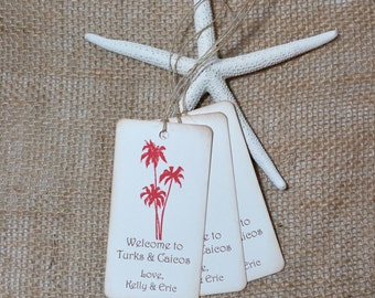 Palm Tree Destination Wedding Gift Tags, Beach Wedding tags, Coral Favor Tags, Welcome Wedding Tags - set of 50