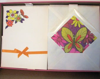 1960s Mod Stationery Flower Power Butterflies Orange and Pink 1960s