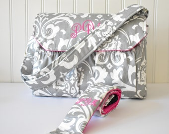 Personalized Damask DSLR Camera Bag and Strap in Gray and Hot Pink Monogrammed Bag for Canon Sony Nikon