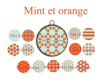 Mint and orange round cabochon 25mm and 20mm and 18mm digital collage sheet