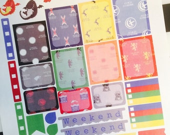 Throne Games Weekly Planner Stickers Set, for use with Erin Condren Life Planner, Happy Planner